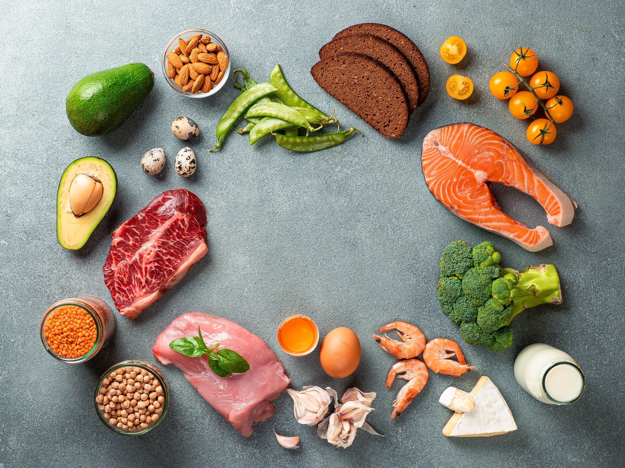 A photo representation of a balanced diet foods